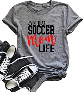LONBANSTR Livin' That Soccer Mom Life Funny T Shirt Short Sleeve Casual Top Tee