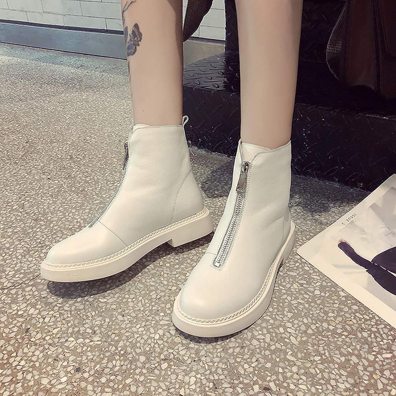 Leather Front Zipper Booties, Winter Plus Cotton Short Sleeve Suede Boots,Beige,36