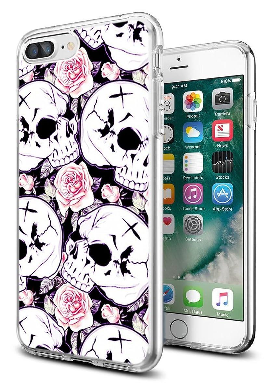 i8 Plus Case Skull,i7 Plus Case Skeleton,Gifun [Anti-Slide] and [Drop Protection] Clear Soft TPU Premium Protective Case for iPhone 8 Plus/for iPhone 7 Plus- White Rose with Skeleton