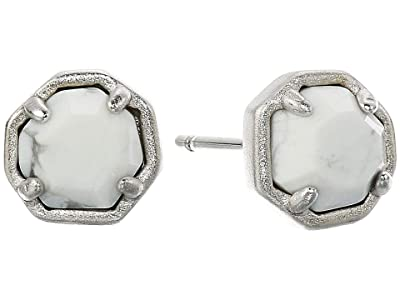 Kendra Scott Nola Stud Earrings (Rhodium White Howlite) Earring