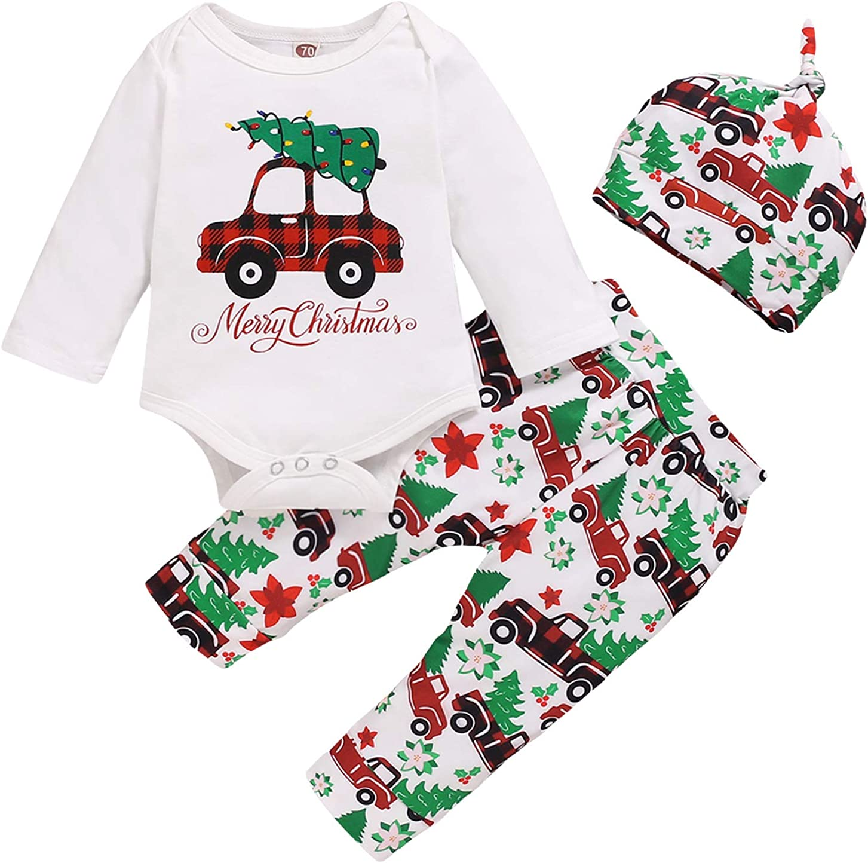 Newborn Baby Christmas Outfits Pajamas Romper Tops Christmas Car Pants Outfit 3Pcs Set