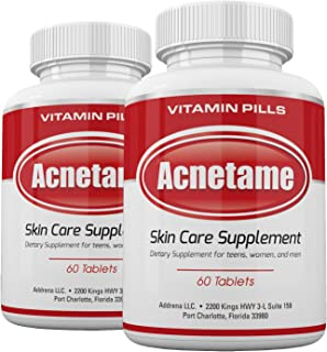 Acnetame 2 Pack 120 Pills- Vitamin Supplements for Acne Treatment- Hormonal Acne Pills to Clear Oily Skin for Women, Men, ...