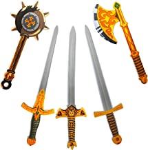 Liberty Imports 5 Pack Assorted Big Foam Swords Toy Set - Medieval Knights and Gladiator Warrior Pretend Role Play Weapons - Includes Golden Axe, Mace, Swords (26 inches)