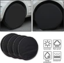 Tire Covers 4 Pack,Set of 4 Wheel Tire Covers for RV Auto Truck Car Camper Trailer,Waterproof Sun-Proof Weatherproof Tire Protectors(Fits 30-32 Inch,Black)