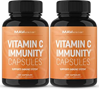 Vitamin C Capsules | for Blood Pressure & Immune Support | Non-GMO, Gluten Free Vegan & Vegetarian Friendly | Vitamin C as...