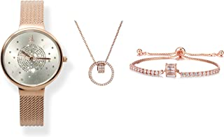 Shengke Kit de Reloj de Pulsera Elegante para Mujer con Pulsera de Metal Elegante y Delgada
