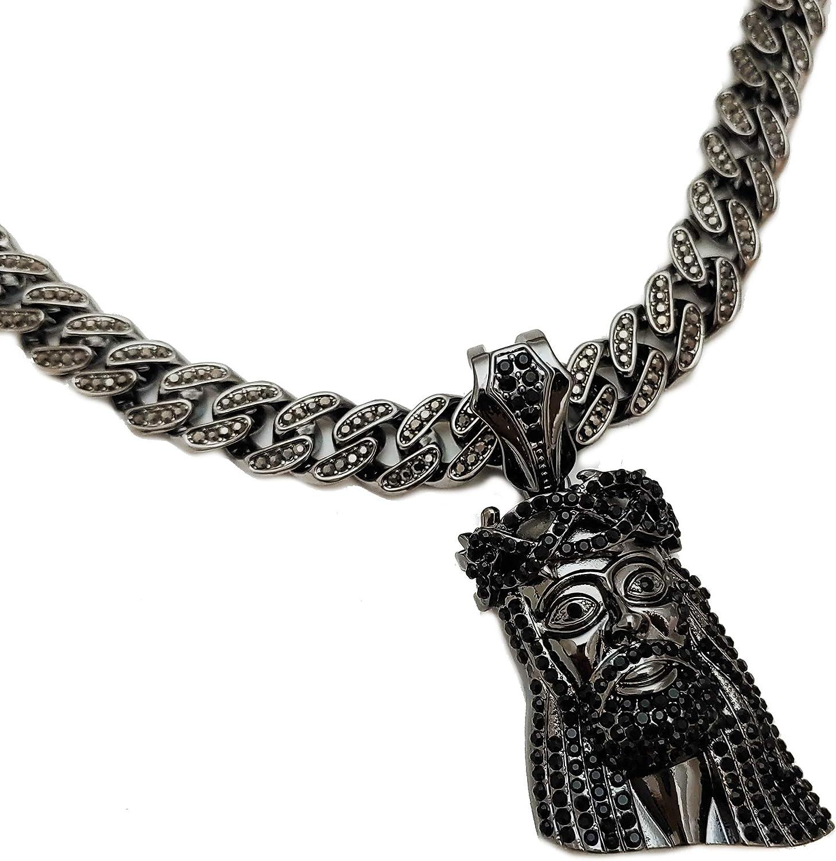 Hip Hop Black Hematite Jesus Head Pendant & 16