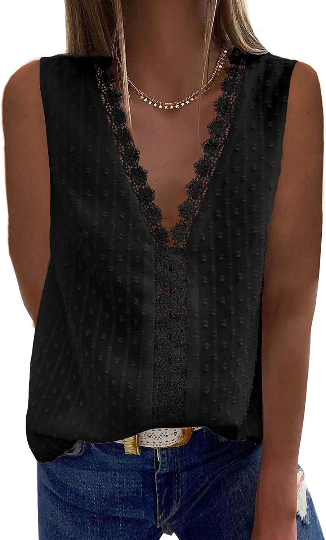 FARYSAYS Womens Summer V Neck Lace Tank Tops Chiffon Sleeveless Blouses Shirt Tunic