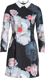 KALEESA Chelsea Flower Collared Long Sleeves Dress In Black