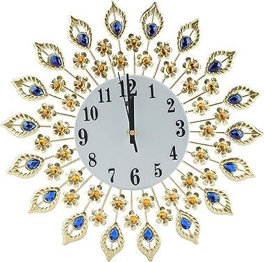 Creative Iron European Style Modern Flower-Shaped Wall-Mounted Clock Diamond Hanging Wall Clock Home Office School