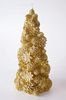 Christmas Tree Candle Big, Gold (H-20cm)