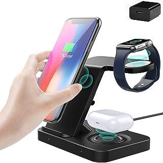 Trådlös laddare, 5 i 1 snabbt trådlöst laddningsställ för iPhone 12/12 Pro / 11/11 Pro/XR/XS/X/Samsung S20 / S10 / S9 / Ap...