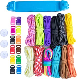 Paracord Parachute Cord Jig Bracelet Loom-Plastic Wristband Maker Paracord Brading Weaving Tool-DIY Craft Kit 12 Rainbow Color Cord & Buckles-Suctions to Table-Great for Beginner,Intermediate,Advanced