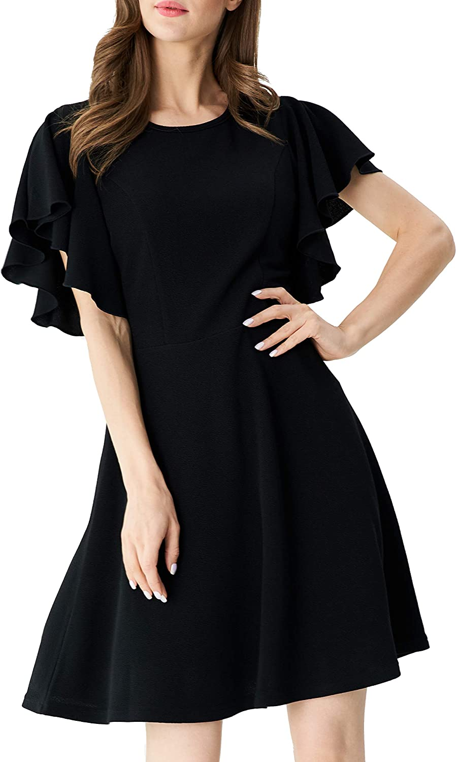 Aphratti Women's Flutter Sleeve Cute Fit and Flare Skater Cocktail Party Dress
