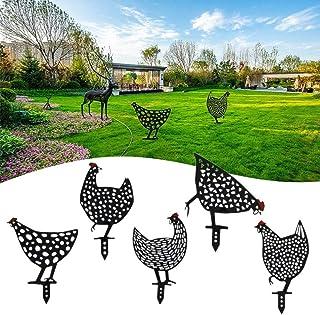 Chicken Yard Art Garden, Metal Decoy Outdoor Statue- Outdoor Winter Decorations for Patio Yard Lawn Porch Backyard Lawn St...