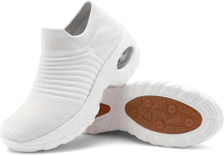 Women's Walking Shoes Sock Sneakers Slip on Mesh Air Cushion Com