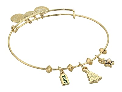 Alex and Ani Christmas Tree Trio Charm Bangle Bracelet, 2019 (Shiny Gold) Bracelet