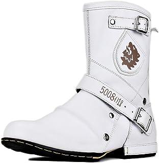 osstone Bottes de Cowboy Moto pour Hommes Mode Zipper Bottes Chukka en Cuir Chaussures décontractées OS-5008-1-H8-H-R