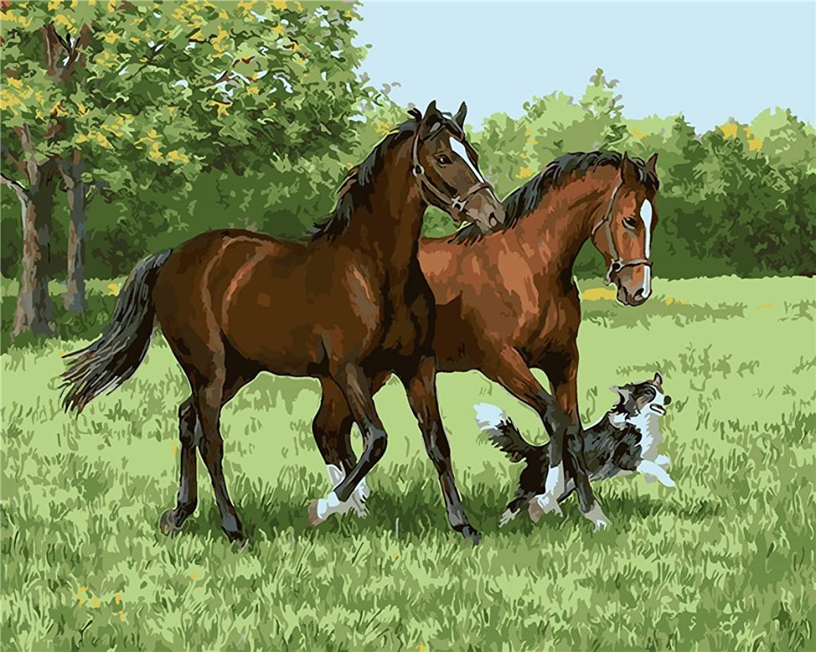 YEESAM Art Paint by Number Kits for Adults Kids - Two Horses and Dog 16x20 inch Linen Canvas (with Frame)