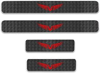 8X-SPEED para Fiesta 4D M Fibra de Carbono Pegatinas Sillín Pedal Proteger Umbral Cubierta Car Styling Sticker 4 Piezas Rojo