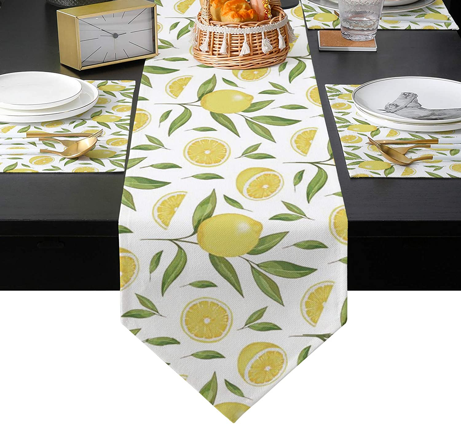 Table Runner with Ranking TOP2 Set of 4 Watercolor 100% quality warranty! Ar Placemats Rustic Lemon