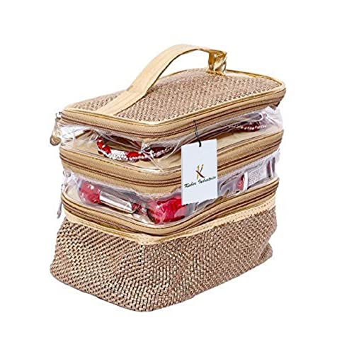 Kuber Industries Jute Make Up, Jewellery Kit Bag (Jute Design), Golden