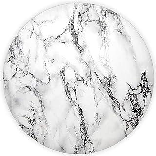 Decorita 10001505001 Beyaz Mermer Görünümlü Cam Kesme Tahtası, Çap 32cm