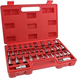 ABN Star Socket Bit Set, 35pc Kit 1/4, 3/8, 1/2 Inch Drive Socket Set External E4 to E16, Torx T8 to T55 Socket Bits