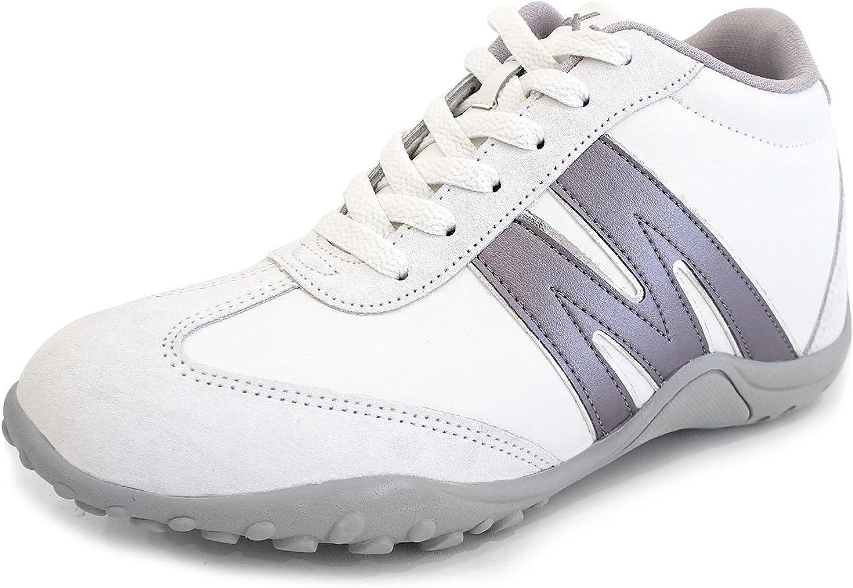 MNX15 Men's Elevator shoes Height Increase 3.1  MAX White Wedge Sneakers High Heel Sneakers