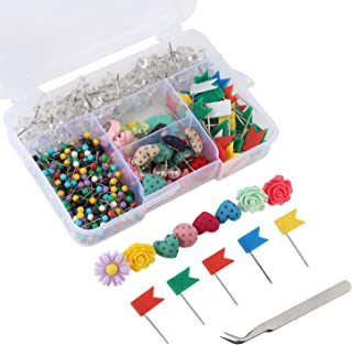 Yalis Push Pins Sets, 7 Kinds and Various Colors Thumb Tacks, 1/8-inch Colors Map Tacks and 3/8-inch Clear Pushpins for Office Work or Cork Board Decorations, 680-Count