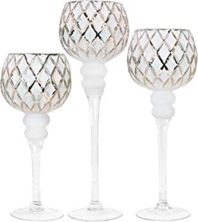 Galashield Candle Holders Set of 3 Glass Hurricane Votive Tealight and Floating Candle Stand Centerpieces for Wedding Table Silver/White (16