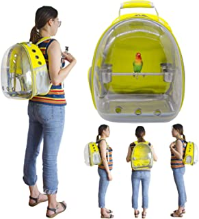 Deloky Parrot Bird Carrier Space Capsule -Transparent Breathable 360° Sightseeing Outdoor Bird Travel Bag Backpack with Stainless Steel Bird Stand perches (Yellow)