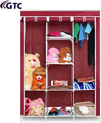 GTC 6+2 Layer Fancy and Portable Foldable Collapsible Closet/Cabinet (Need to Be Assembled) (88130) Wine