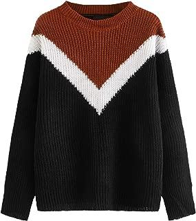 Milumia Women's Drop Shoulder Color Block Textured Jumper Casual Sweater