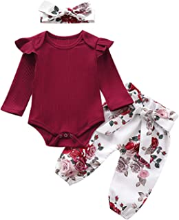 Infant Newborn Baby Girls Floral Pants Set Ruffle Knitted Long Sleeve Romper+Flower Pants+Headband Outfits