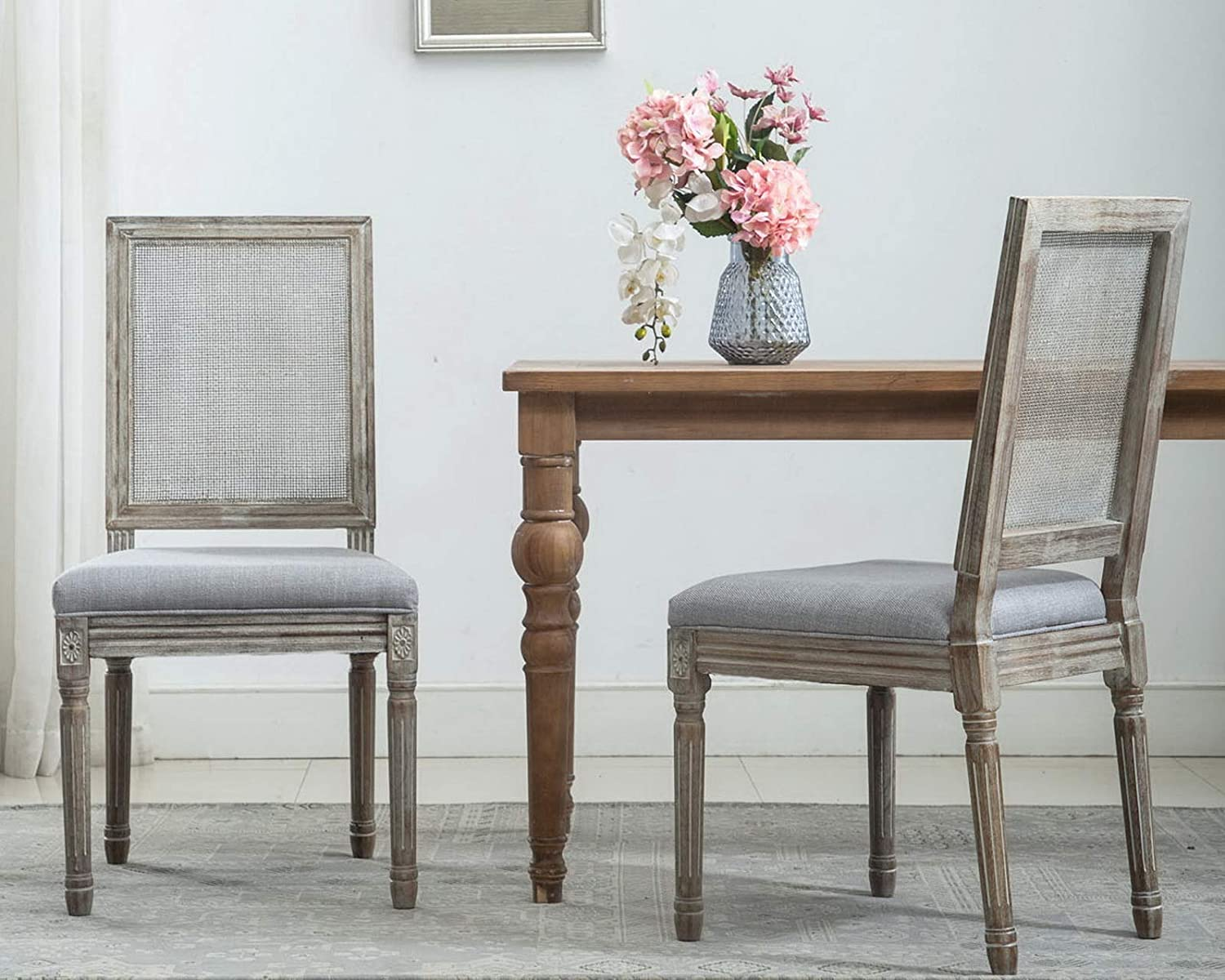 Bombing free shipping CIMOTA French Dining Chairs Set 2 Upholstered Farmho Vintage Special Campaign of