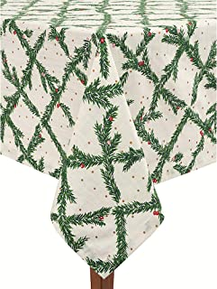 Kate Spade New York Luxury Linens Pine Needles Holiday Pattern Tablecloth Green Gold White Natural Cotton (70 INCH Round)
