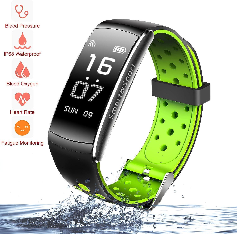 Zeshbit Fitness-Tracker, Aktivittstracker, Schrittzhler, IP68, wasserdicht, mit Aktivitts-Herzfrequenz, Schlaf-Monitor, Blautsauerstoff- und Druck-Monitor für Android und iOS