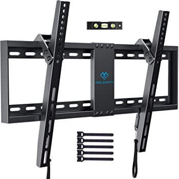 "PERLESMITH Tilt Low Profile TV Wall Mount Bracket for Most 32-82 inch LED, LCD, OLED and Plasma Flat Screen TVs - Fits 16""- 24"" Wood Studs, Tilting TV Mount with VESA 600 x 400 Holds up to 132lbs"