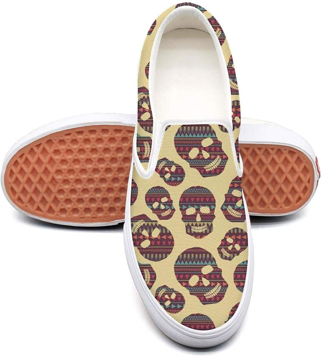 Colour Skulls and Heart Slip On Superior Comfort Loafers Canvas shoes for Women Fashion