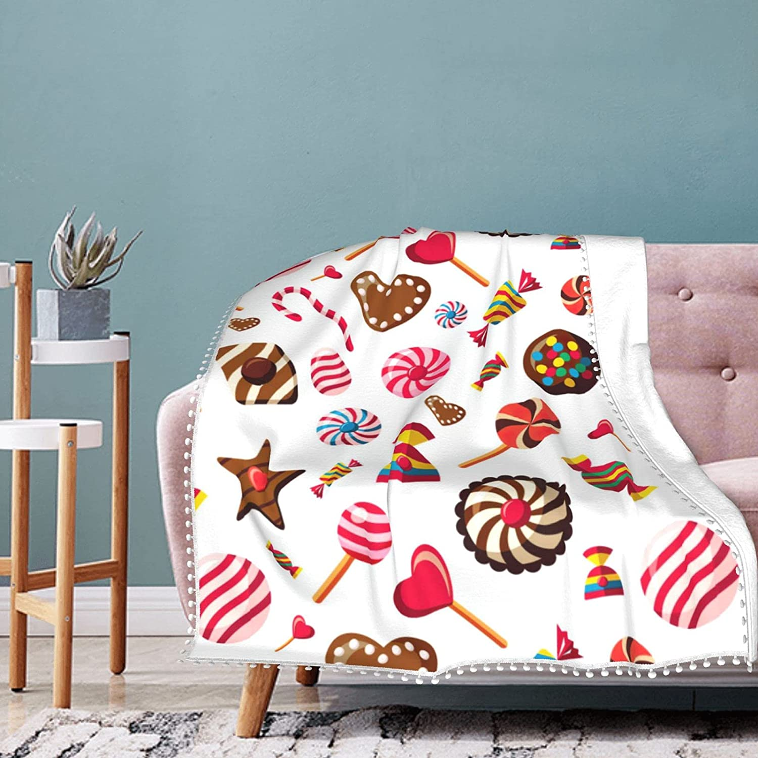 Candy Vector Ranking TOP6 Image Fleece Blanket Air Fringe Summer with Ranking TOP18 Pompom