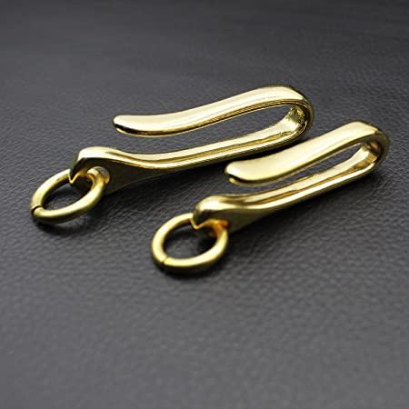 PPFISH 2 PCS Solid Brass U Hook Key Loop Pocket Clip with Ring , Simple Style Car keychain for Men Women