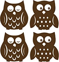 Wall Pops WPSI0842 Owl Silhouettes Espresso Brown Wall Decals, 4 pieces