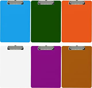 Trade Quest Plastic Clipboard Opaque Color Letter Size Low Profile Clip (Pack of 6) (Assorted)