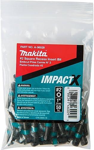 wholesale Makita 2021 high quality A-96528 Impactx 2 Square Recess 1″ Insert Bit, 50 Pack, Bulk sale