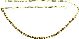 Memoir Gold Plated Brass, Flower Design, Multi Colour Stone Studded Stylish Waistbelt, kamarpatta, Traditional kamarbandh ...