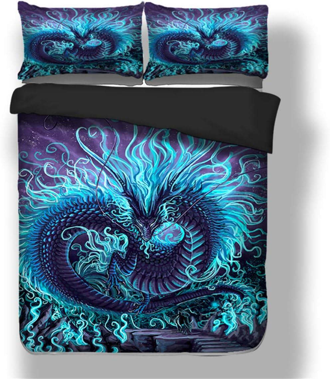 3D Blue Dragon Bedding Set 新作通販 Cover Duvet 超歓迎された Chinese Queen Full