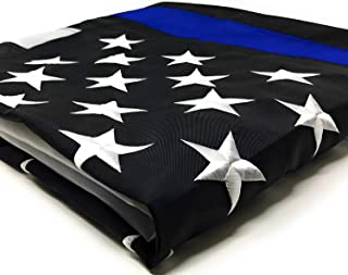 Thin Blue Line Flag 3x5 ft with Embroidered Stars - Sewn Stripes - Brass Grommets - UV Protection - Black White and Blue American Police Flag Honoring Law Enforcement Officers