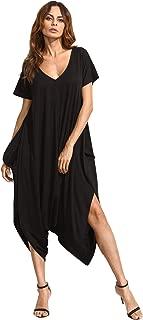 Women's Casual V Neck Short Sleeve Loose Harem Jumpsuit Romer