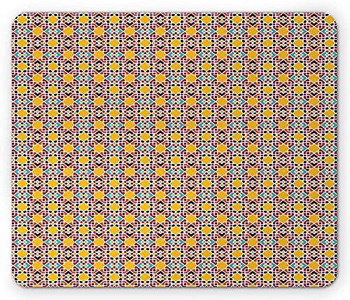 Alfombrilla de ratón de mosaico, colorido folclórico creativo tradicional árabe azulejos de cerámica temática geométrica, alfombrilla de ratón de goma antideslizante rectangular, tamaño estándar, mult